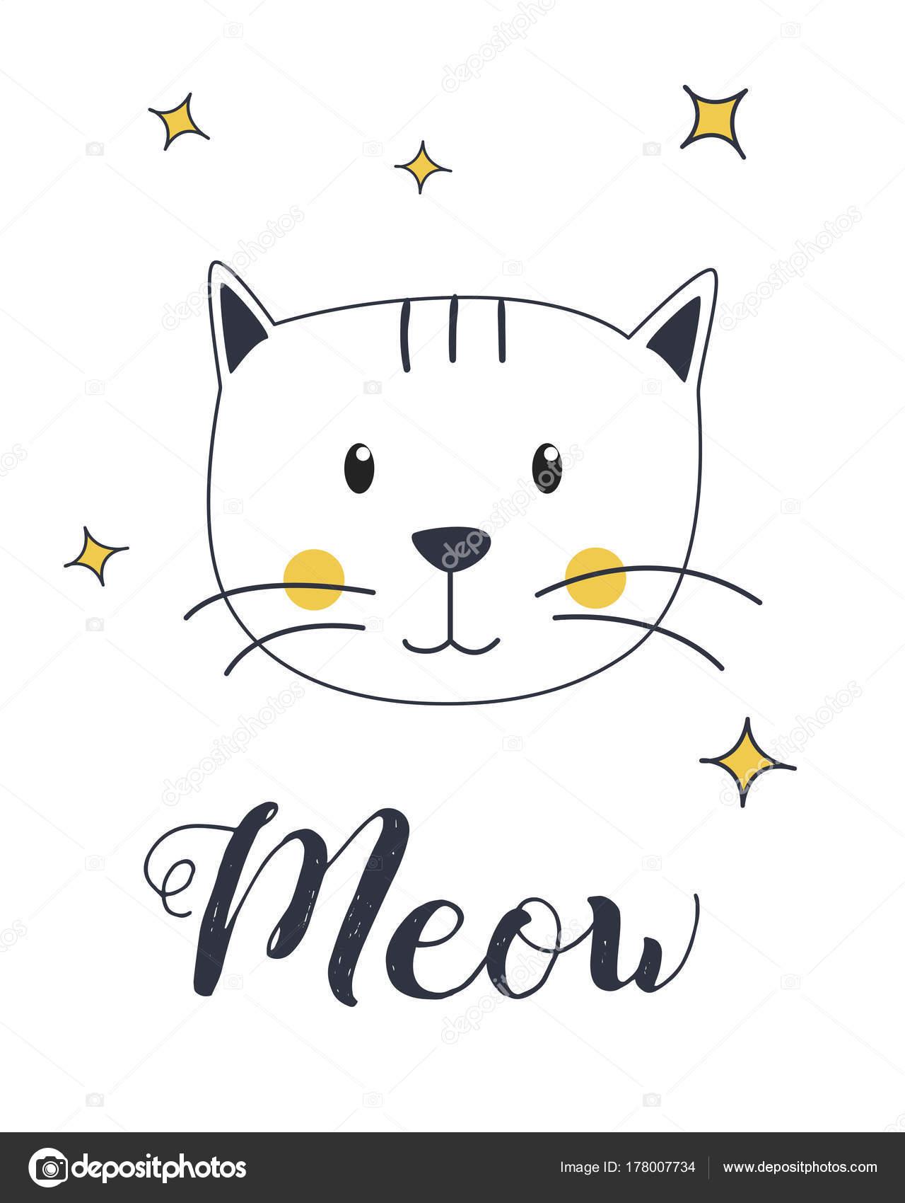 Miagolio Del Gatto Illustrazione Vettore Shirt Progettazione Stampa U2014  Vettoriale Stock