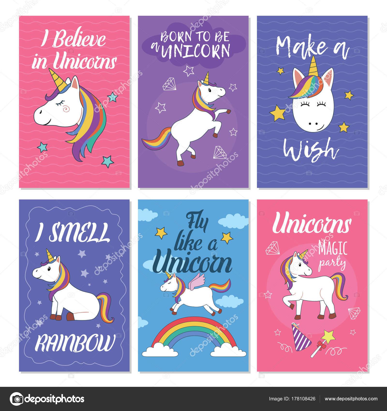 Unicorn Greeting Card Set Great Design Postcard Birthday Invitation ...