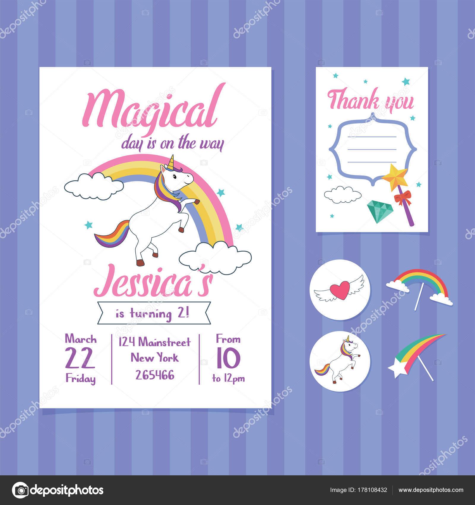 Unicorn Birthday Invitation Card Template Unicorn Rainbow