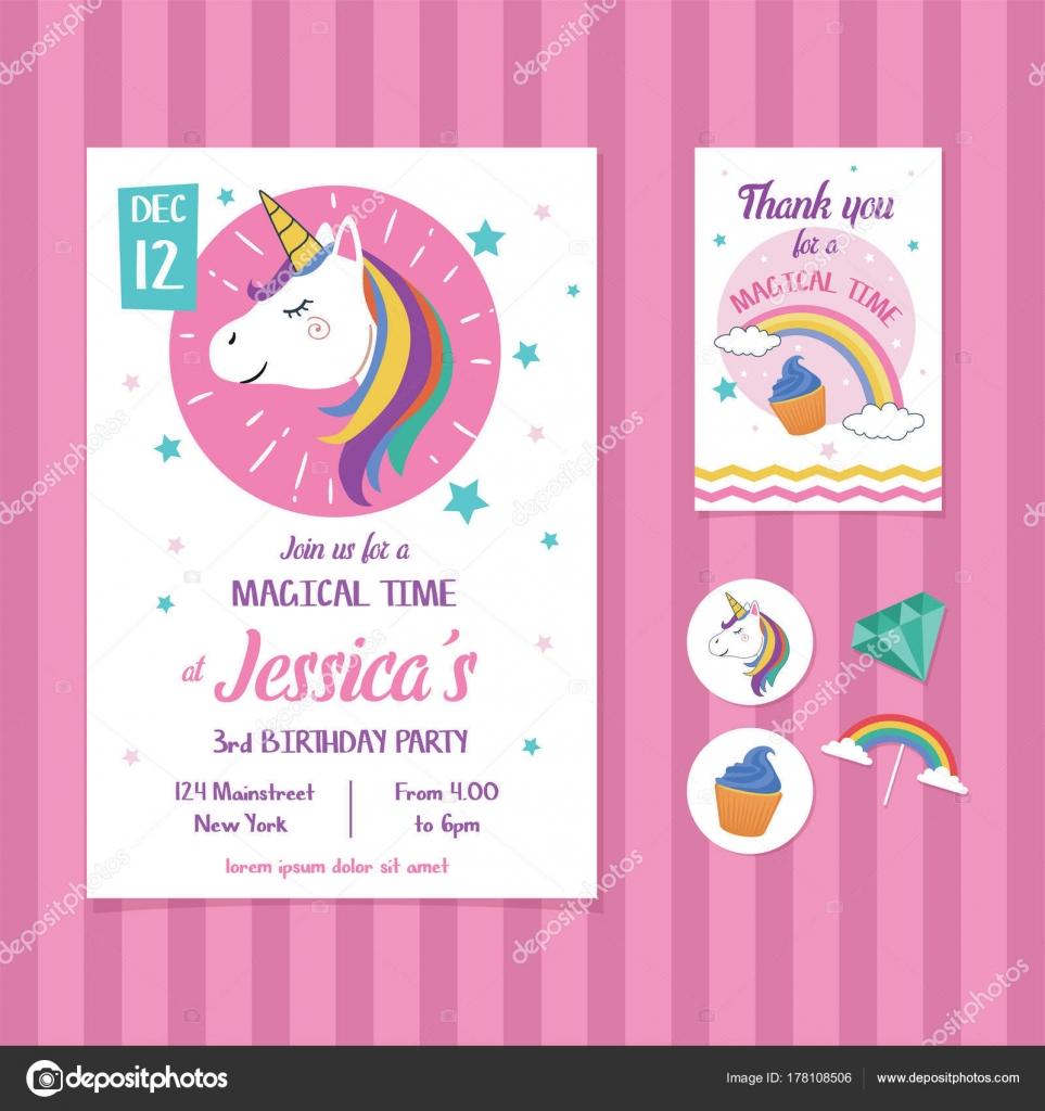 Vector Tarjeta De Invitación Unicornio Cumpleaños