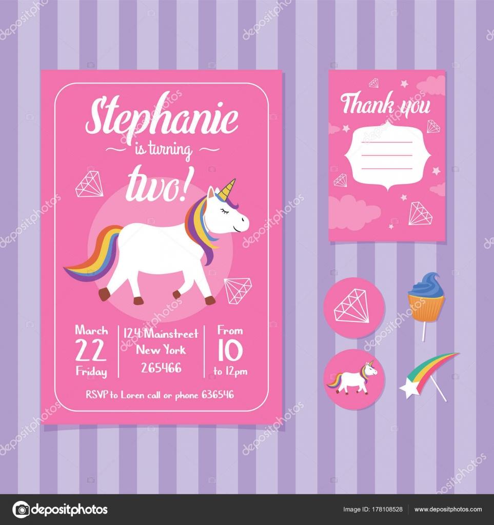 Unicorn Birthday Invitation Card Template Stock Vector C Bonezboyz