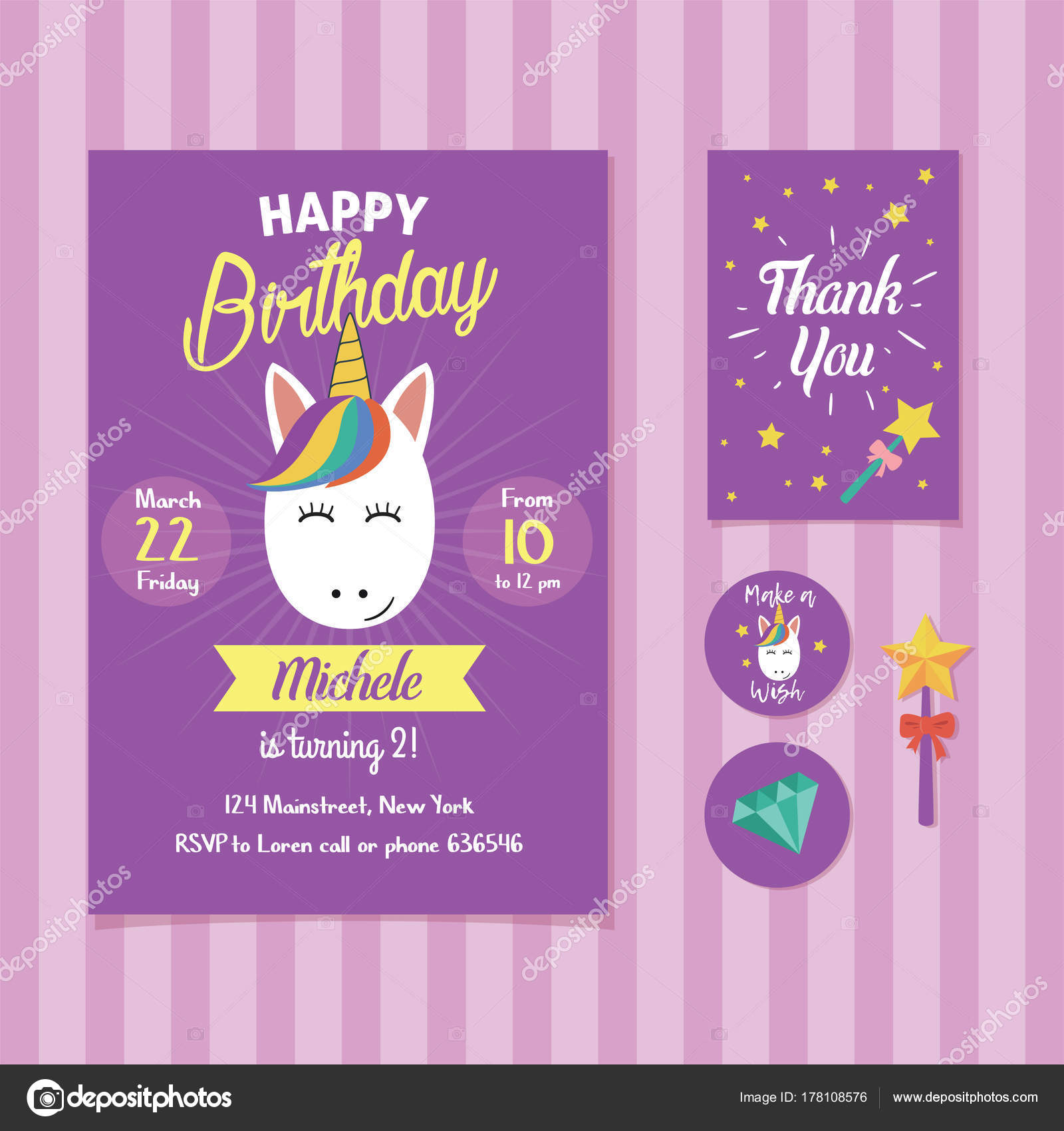 Unicorn Birthday Invitation Template Cute Unicorn Face Illustration