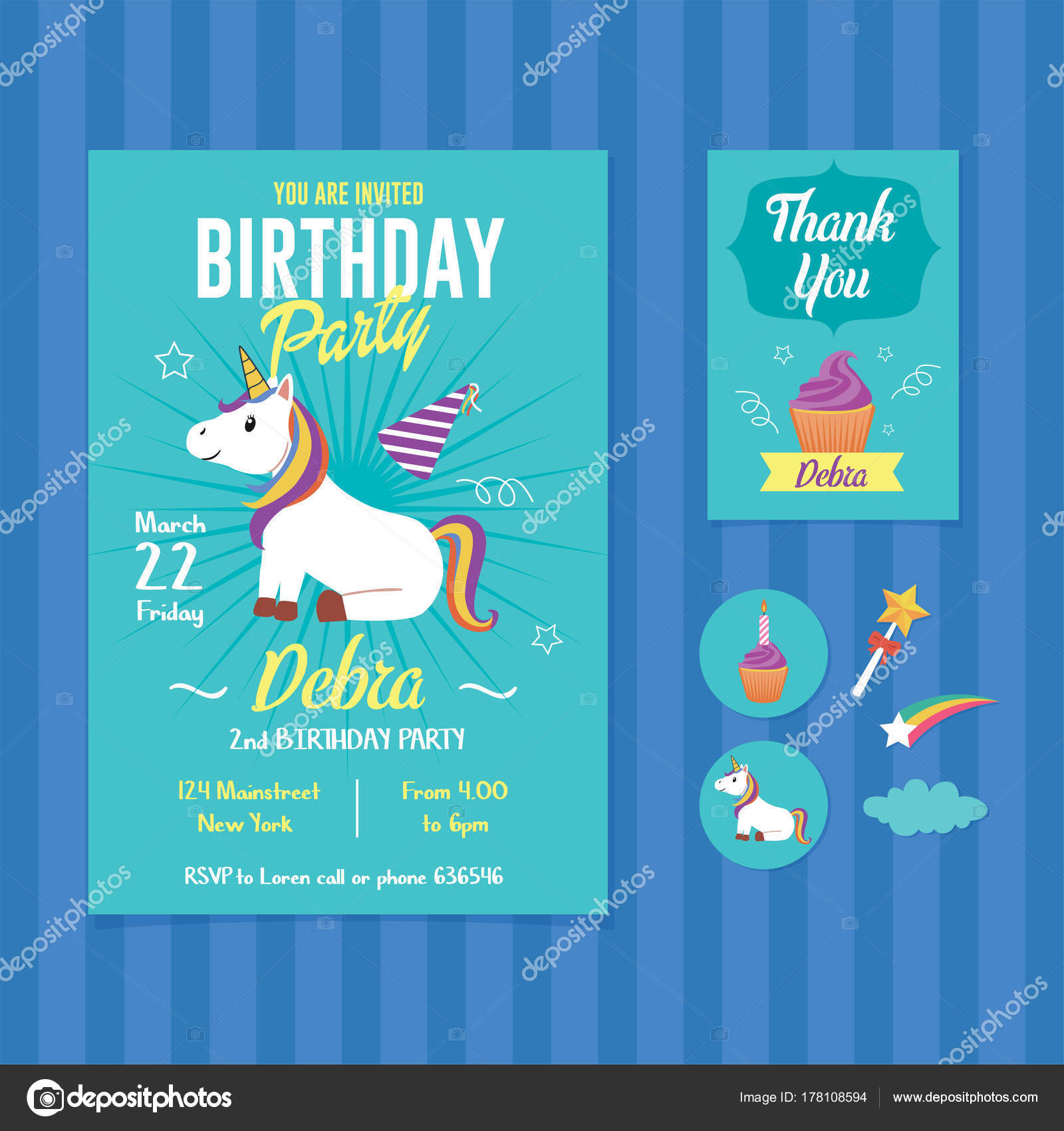 Unicorn Birthday Party Invitation Template Stock Vector