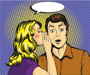 Man and woman whisper pop art vector illustration