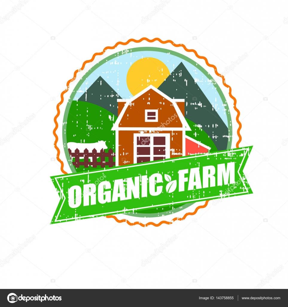 Logotipo del concepto de casa de la granja. Plantilla con paisaje de ...