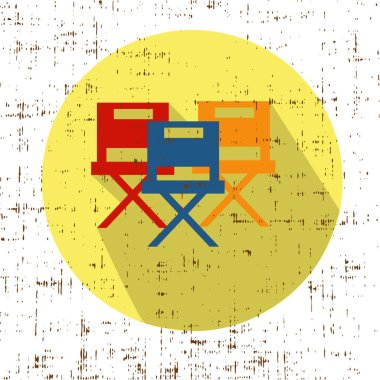 Movie Chairs Icon Vector with screen grunge retro texture