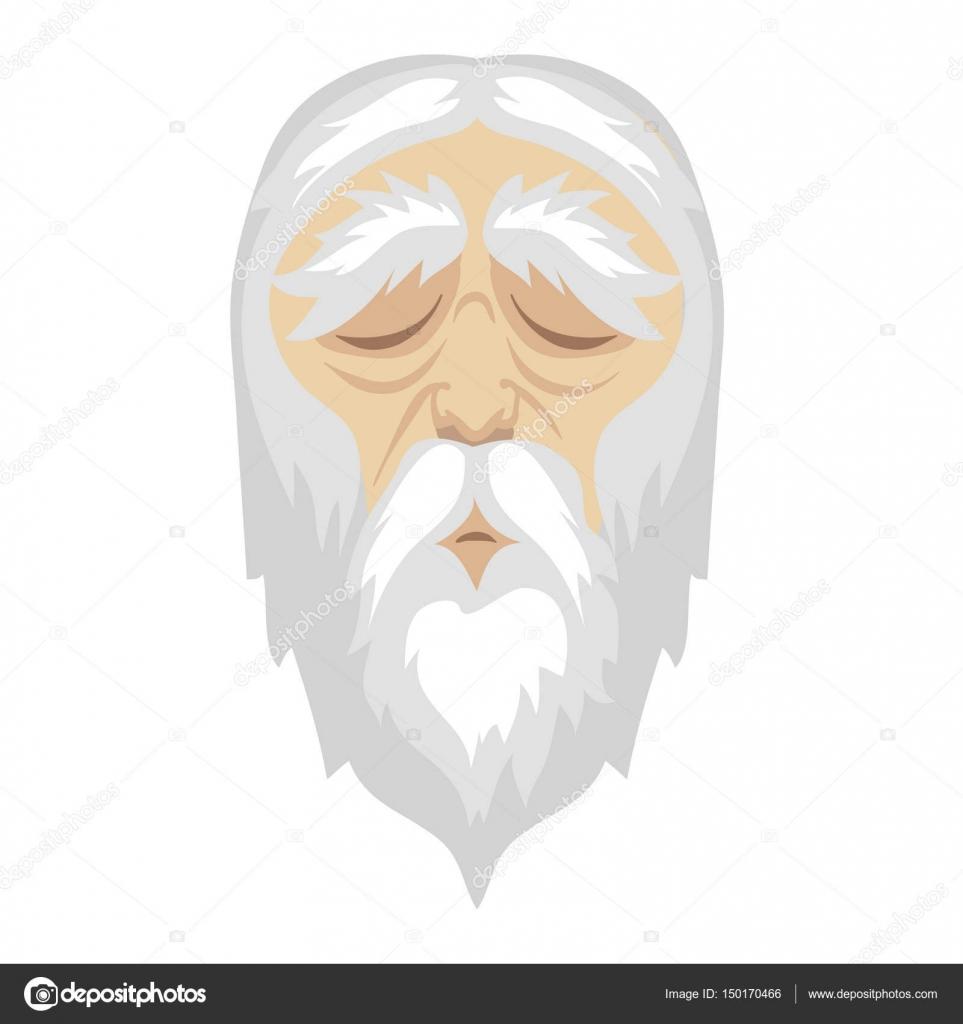 Un uomo saggio vecchi cartoni animati con e una lunga barba