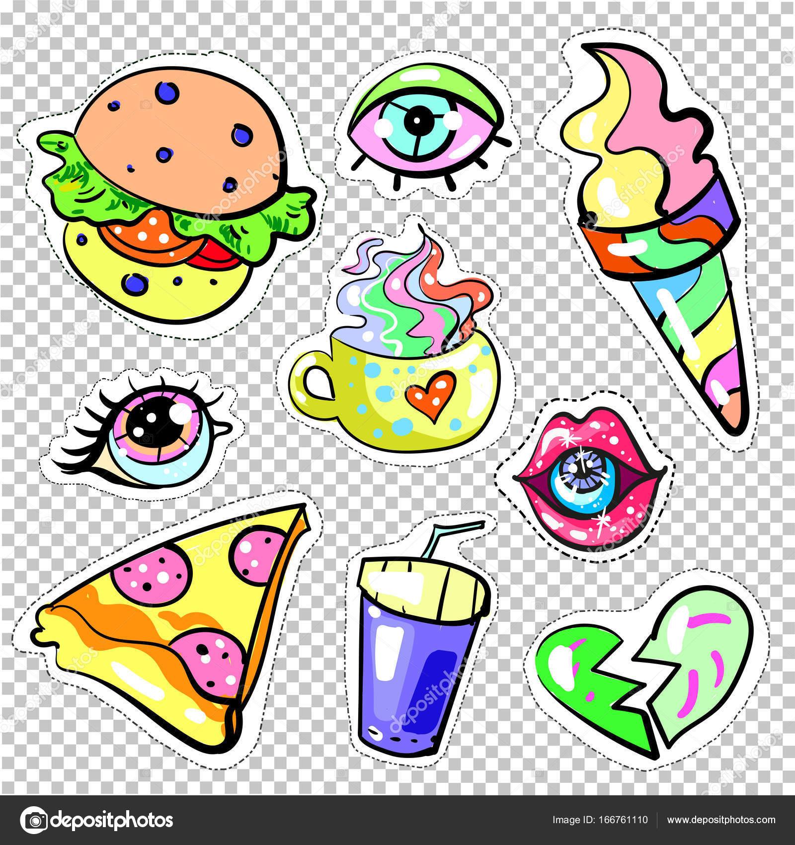 Mode-Pop-Art Patch Abzeichen süße Farben auf transparenten ...