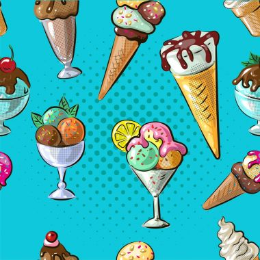Ice cream seamless pattern different type n blue dot background