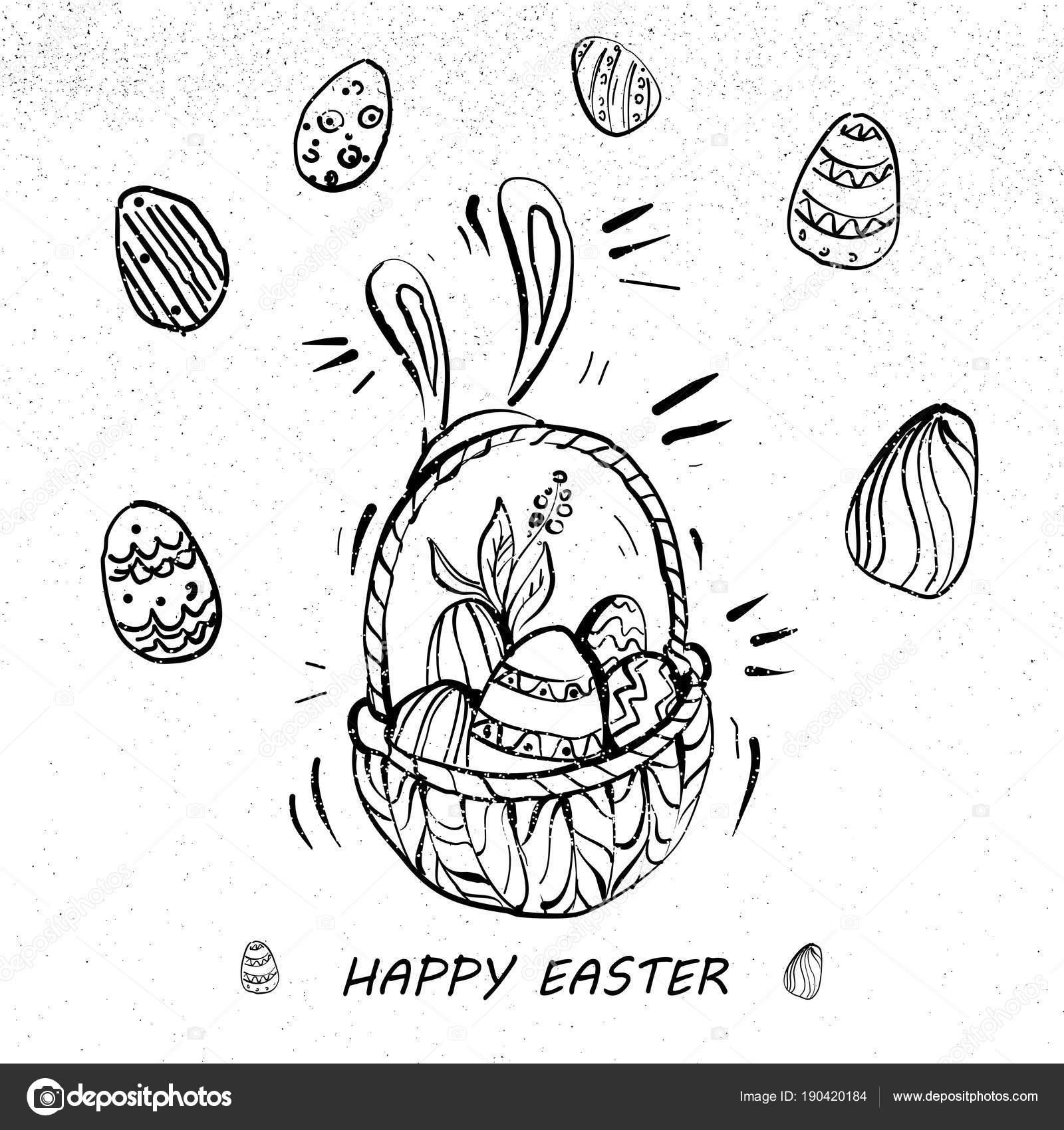 estilo retro de huevos de Pascua en una cesta línea arte feliz ...
