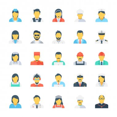 Professions Colored Vector Icons 2