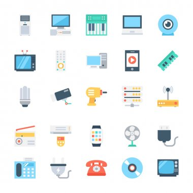 Electronics Colored Vector Icons 3
