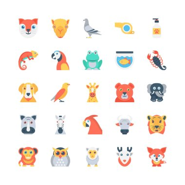 Animals and Birds Colored Vector Icons 2