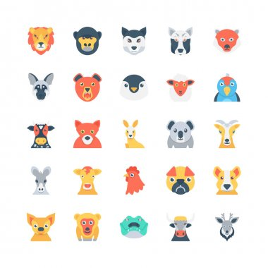 Animals and Birds Colored Vector Icons 3