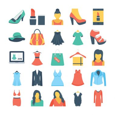 Fashion and Clothes Colored Vector Icons 1
