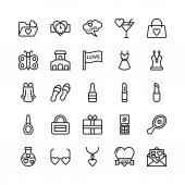 Láska a Valentine linie vektorové ikony 15