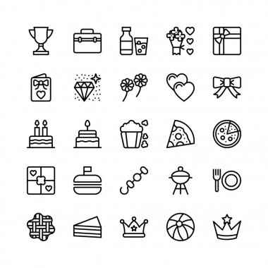 Christmas, Halloween, Party and Celebration Line Vector Icons 17