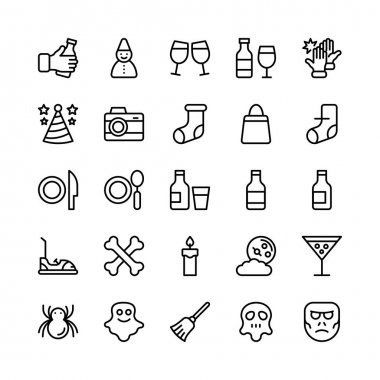 Christmas, Halloween, Party and Celebration Line Vector Icons 20
