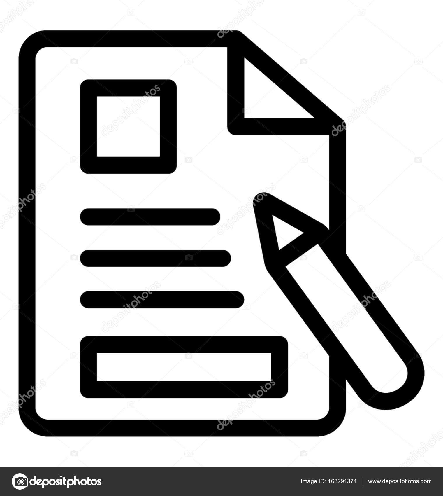 Línea Vector icono de redacción de artículos — Archivo Imágenes ...