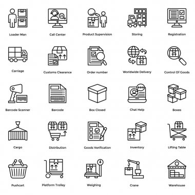 Logistic Delivery Vector Icons Set 8