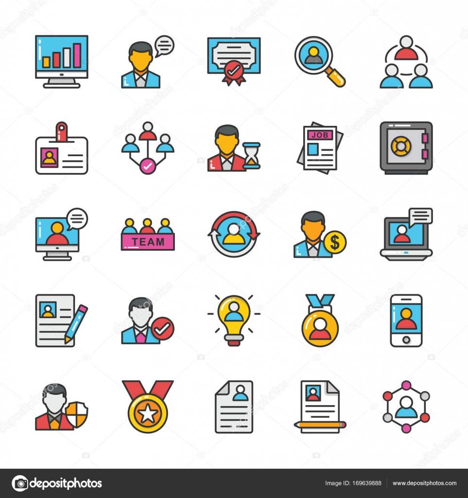 Recursos humanos Vector Icons Set 1 — Archivo Imágenes Vectoriales ...