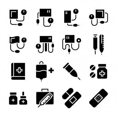 Medical Glyphs Vector Icons Set