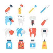 Set von Farbvektorsymbolen für Zahnpflege