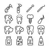 Reihe von Linien-Vektorsymbolen für Zahnpflege
