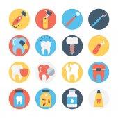 Set von Zahnpflege kreisförmigen farbigen Vektor-Symbol