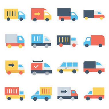 Set of Transport Color Vector Icon