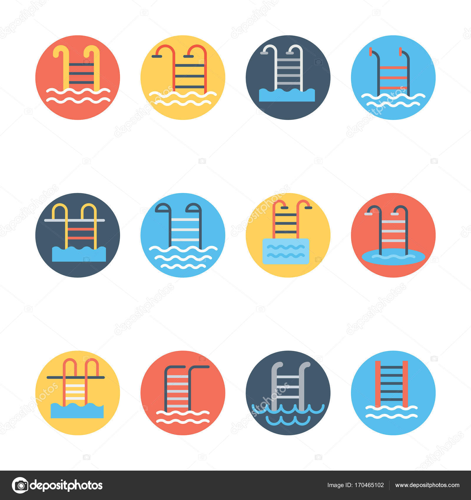 Set of Swimming Pool Circular colored Vector Icons Stock Vector
