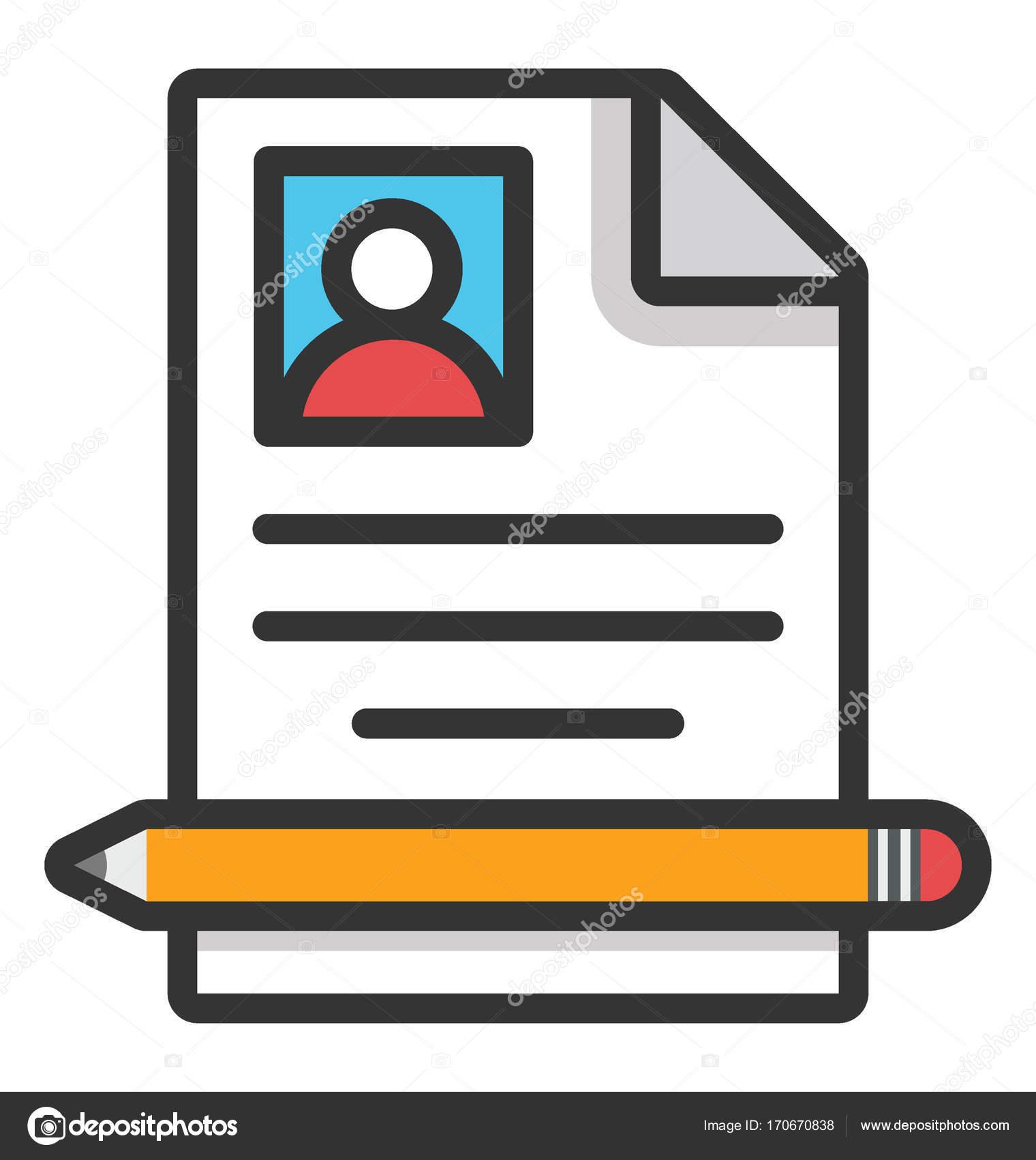 Curriculum Vitae escrito Vector icono — Archivo Imágenes Vectoriales ...