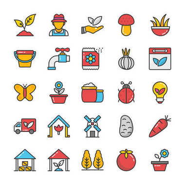 Nature Colored Vector Icons Set 4