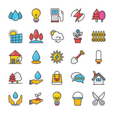 Nature Colored Vector Icons Set 2