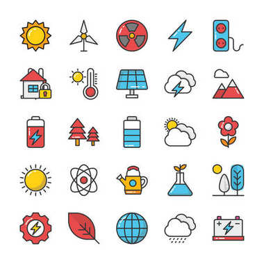 Nature Colored Vector Icons Set 1