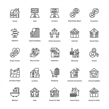 Real Estate Line Vector Icons Set 6