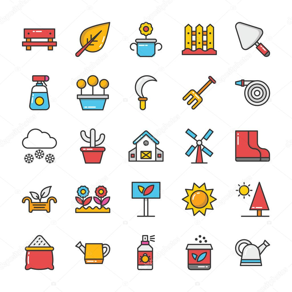 Nature Colored Vector Icons Set 5