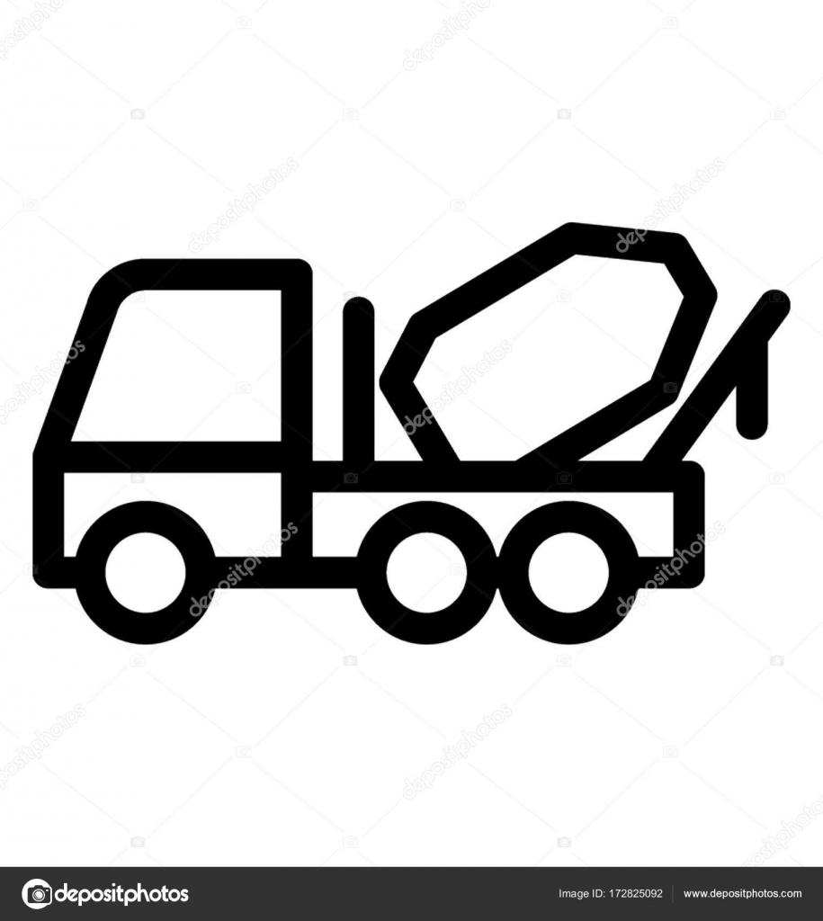 Concrete Buggy Line Vector Icon — Stock Vector