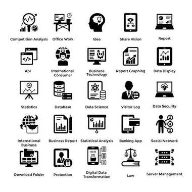 Collection of Business Management Elements Glyph Icons 3