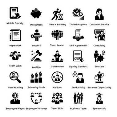Collection of Business and Management Glyph icons 6