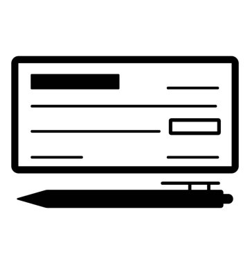 Cheque Glyph Vector Icon