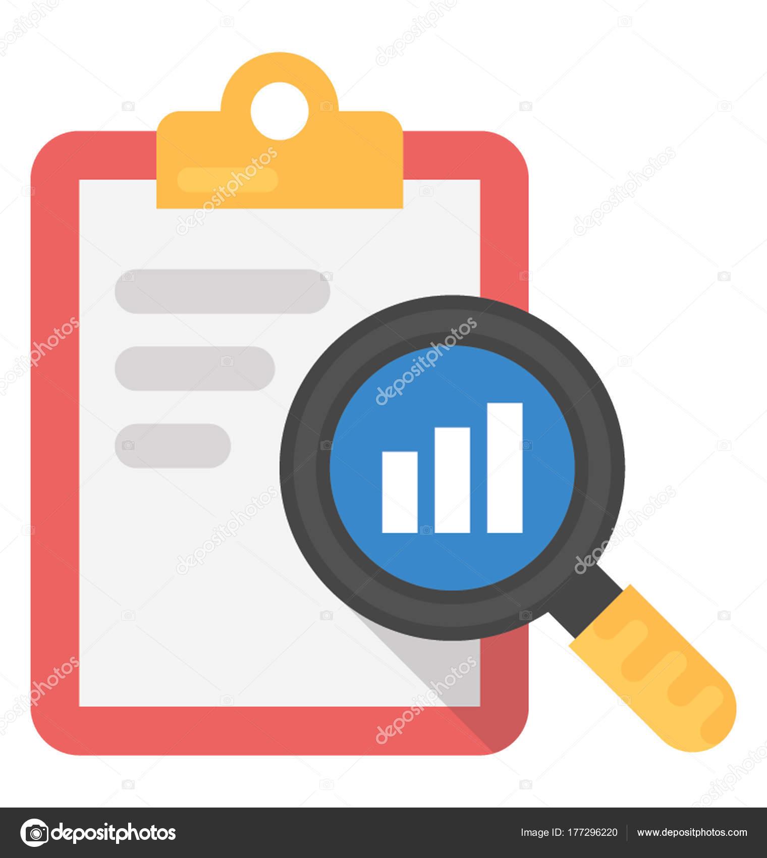 survey report flat icon stock vector vectorsmarket 177296220