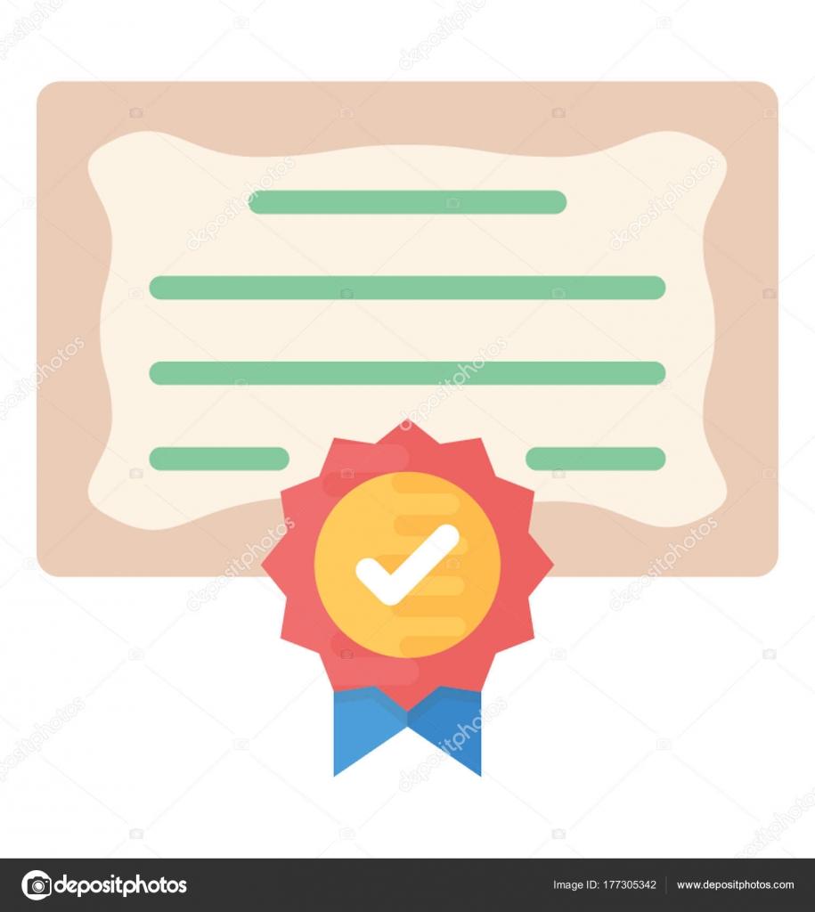 certificate flat vector icon stock vector vectorsmarket 177305342 rh depositphotos com certificate vector border certificate vector template free download