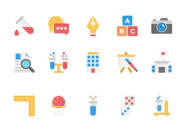 Flat Icons Collection Of Education, School, Students and Study