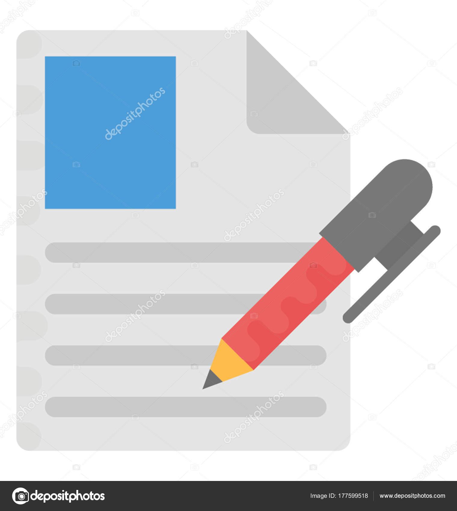 Reanudar Escritura Plano Vector Icono — Vector de stock ...
