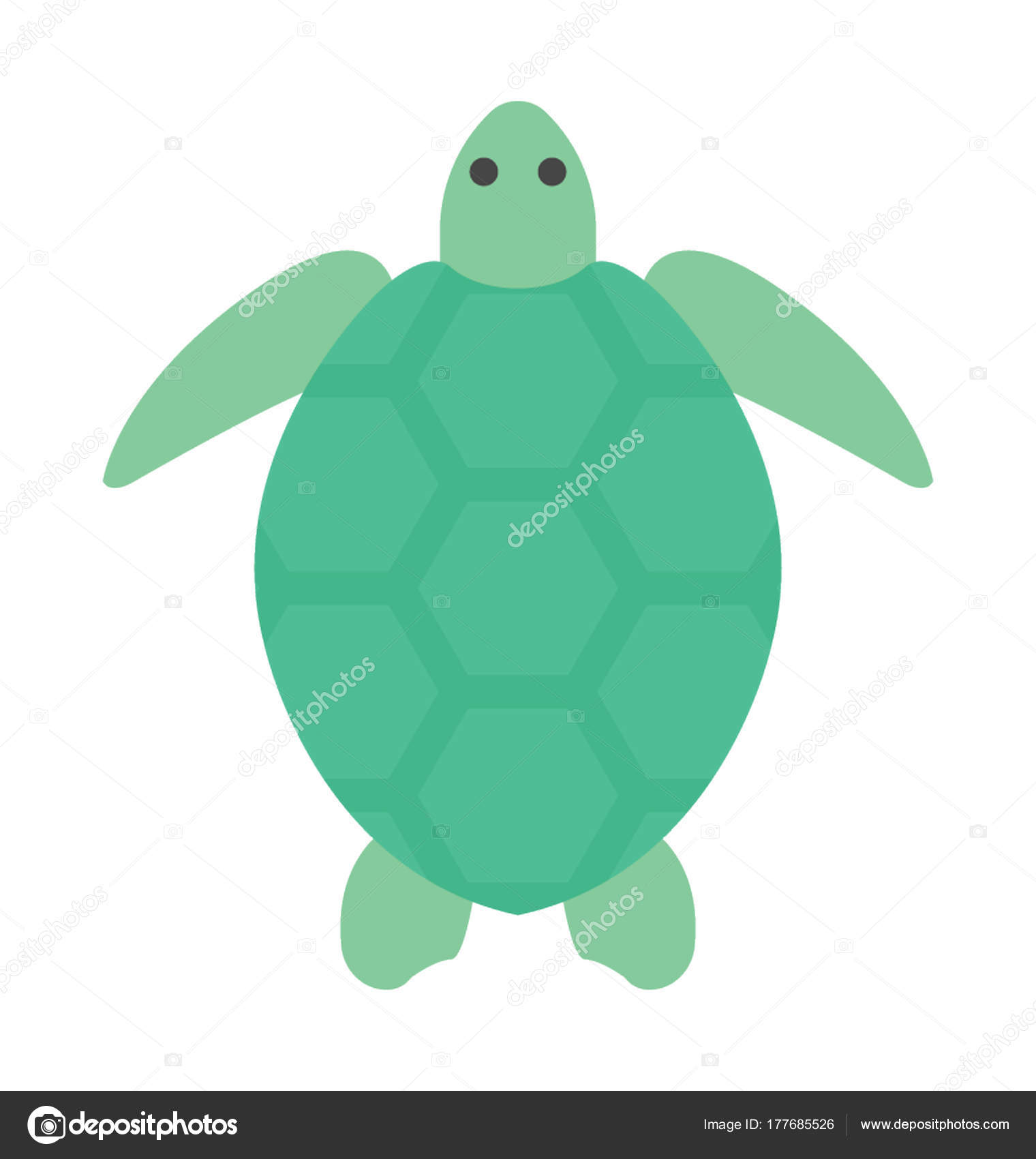 green color sea turtle top view flat vector icon stock vector rh depositphotos com Sea Turtle Silhouette Sea Turtle SVG