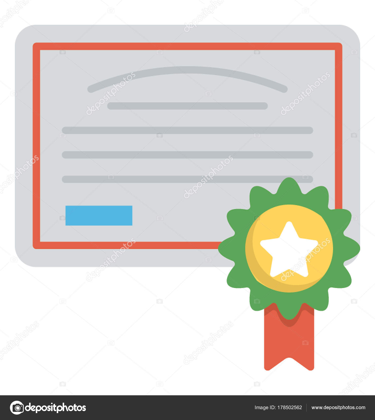 Flat Icon Certificate Badge Top Stock Vector Vectorsmarket