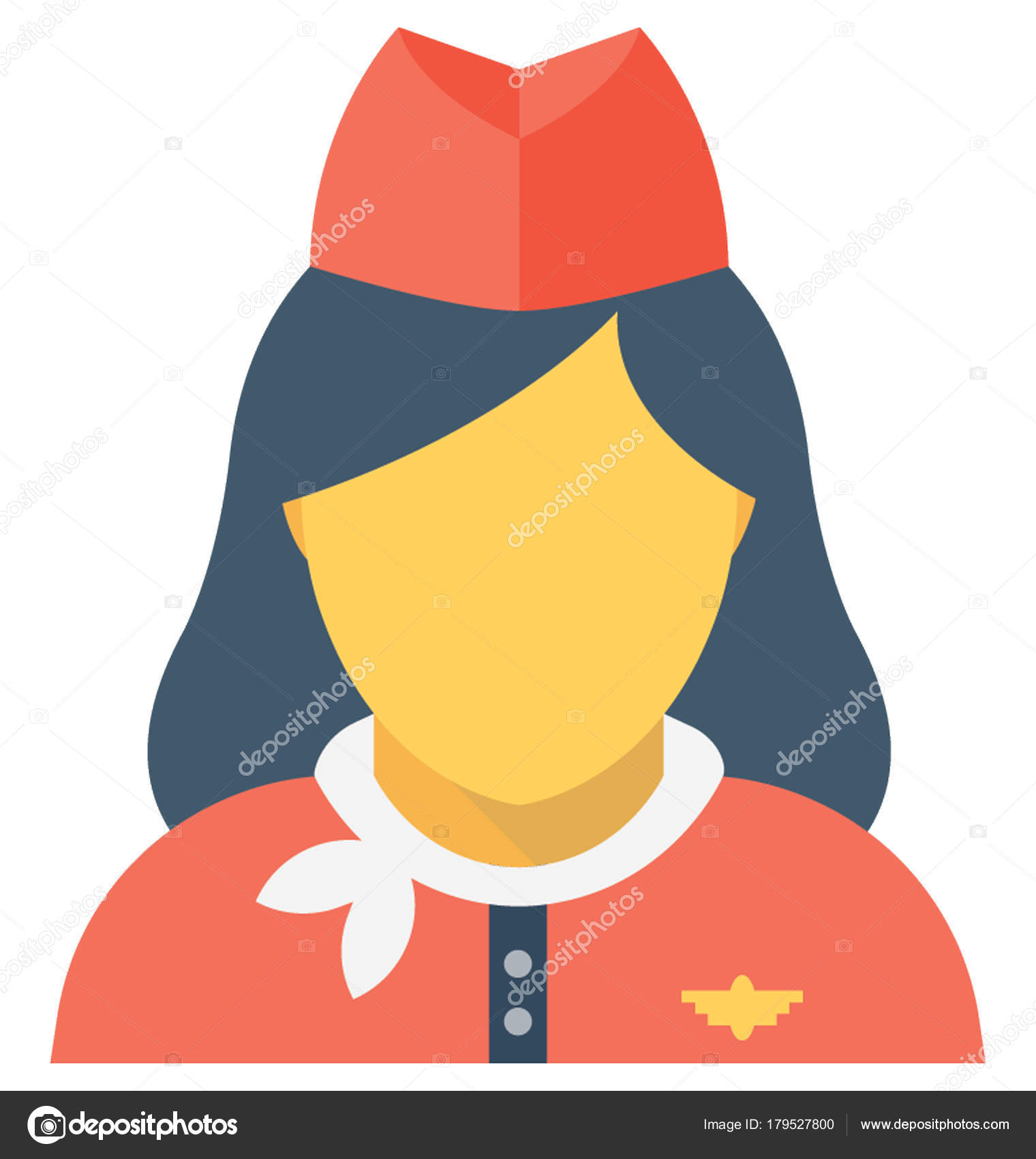 Air Hostess Flat Vector Icon Stock Vector Vectorsmarket 179527800