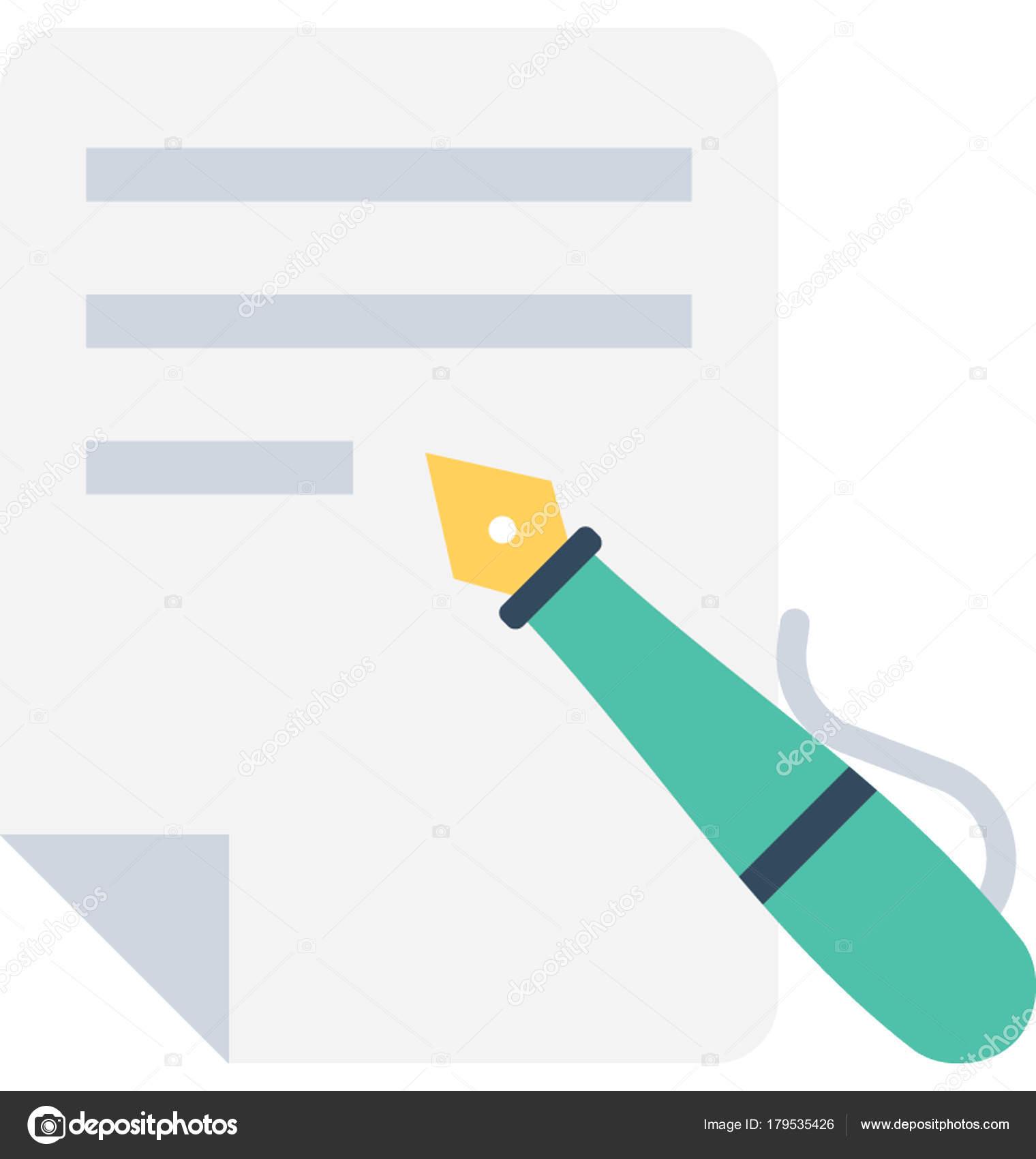 Icono Vector Plano Escritura — Archivo Imágenes Vectoriales ...