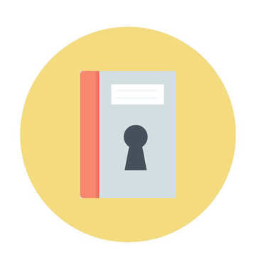 Book with Keyhole Colored  Vector Icon